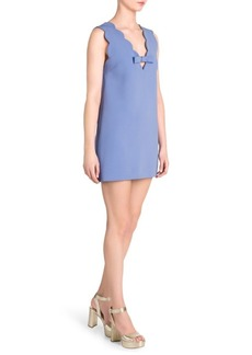 Miu Miu Cady Scalloped Mini Dress