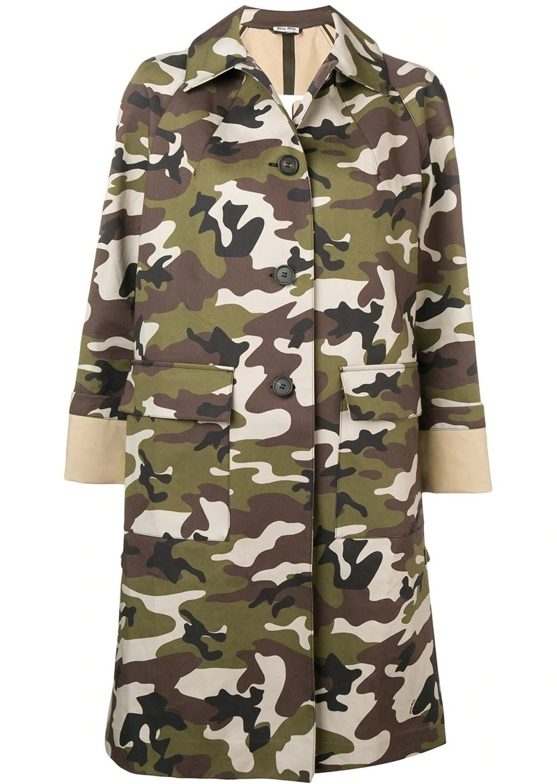 Miu Miu camouflage print coat