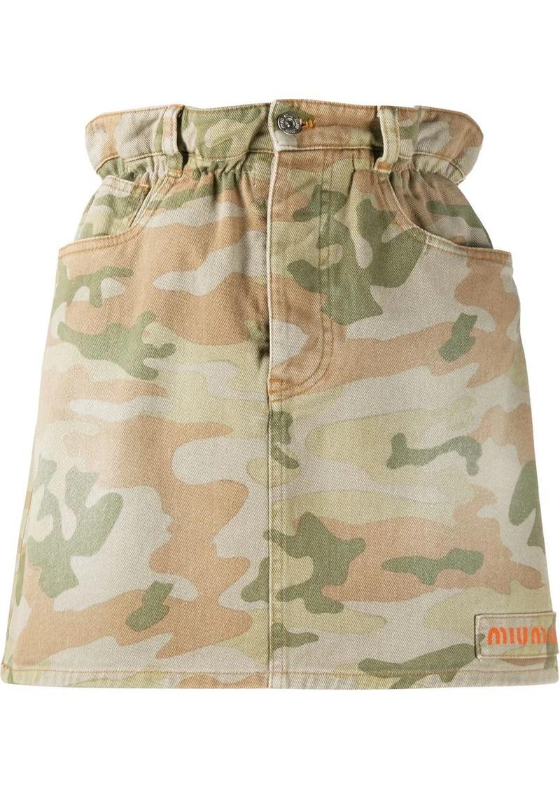 Miu Miu camouflage print mini skirt