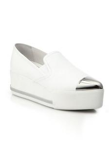 Miu Miu Cap Toe Leather Wedge Skate Sneakers