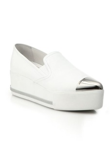 Cap-Toe Skate Leather Platform Sneakers