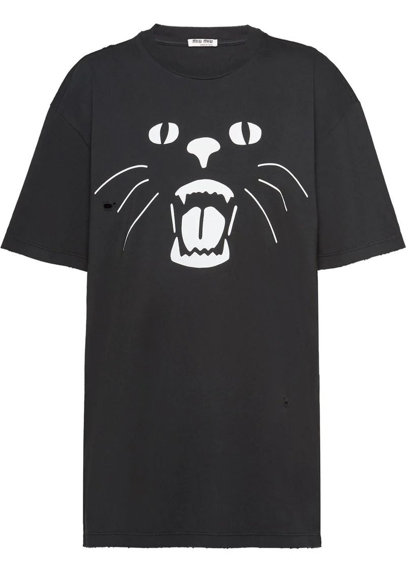 Miu Miu cat print T-shirt