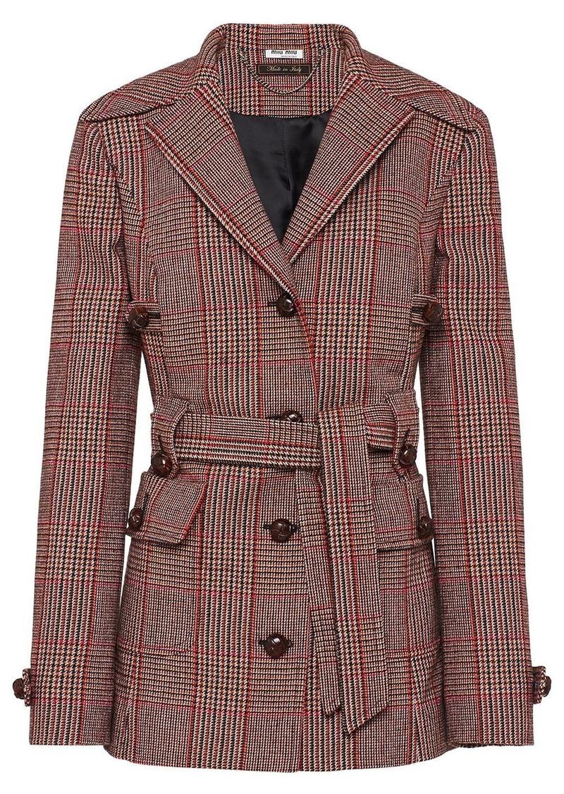 Miu Miu checked belted coat