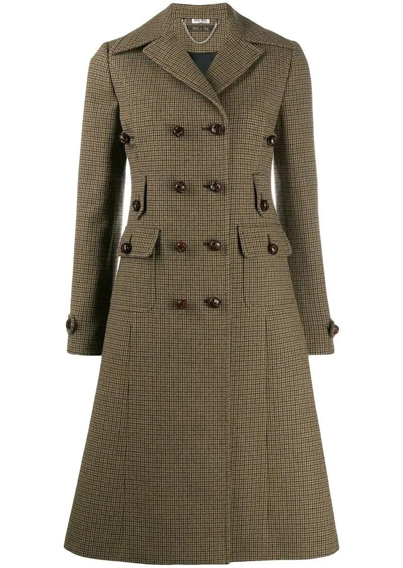 Miu Miu checked flared coat