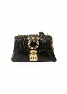 Miu Miu Coffer Jeweled Quilted Leather Shoulder Bag