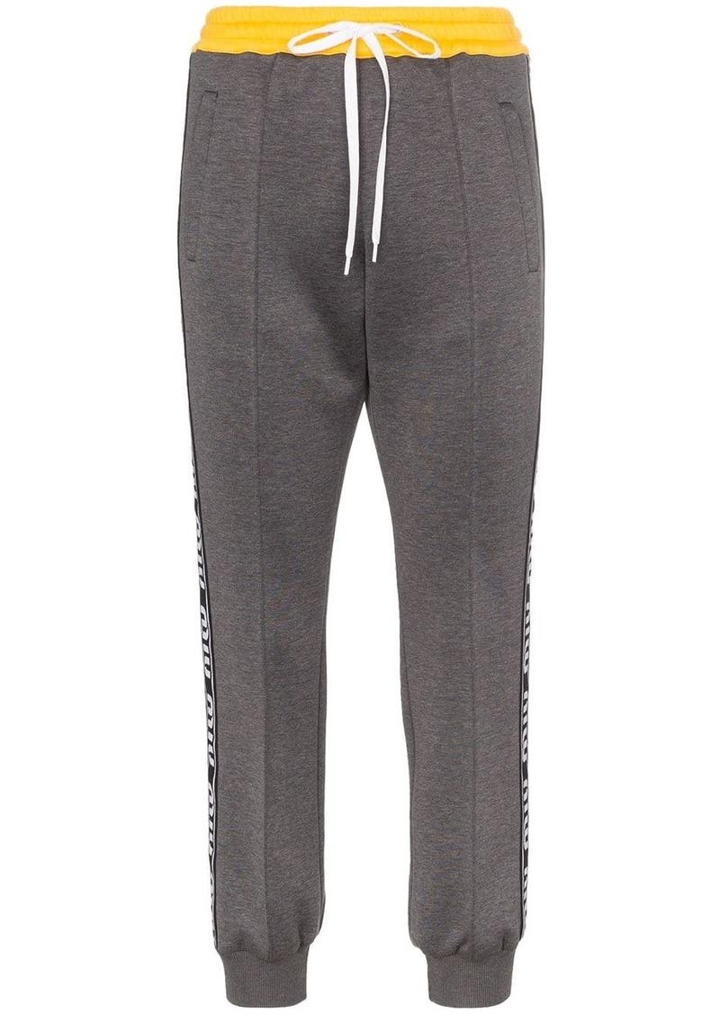 Miu Miu contrast waistband logo stripe track pants