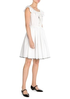 Miu Miu Cotton Poplin Pom-Pom Dress