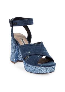 Miu Miu Crisscross Denim Platform Sandals