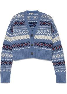 Miu Miu Cropped Fair Isle Wool Cardigan