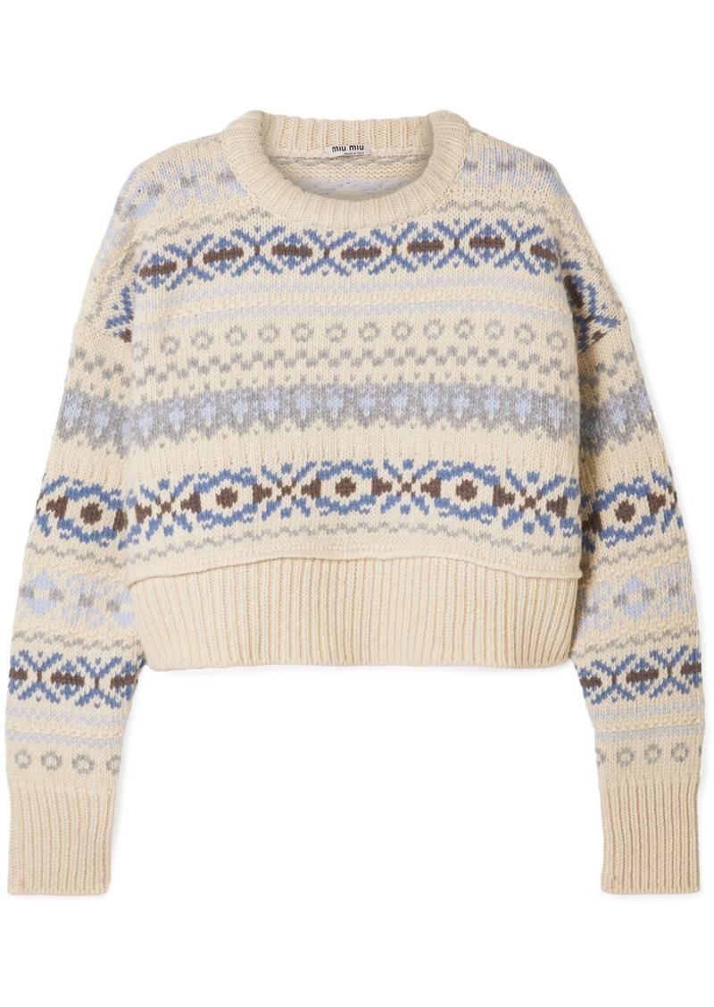Cropped Fair Isle Wool Sweater