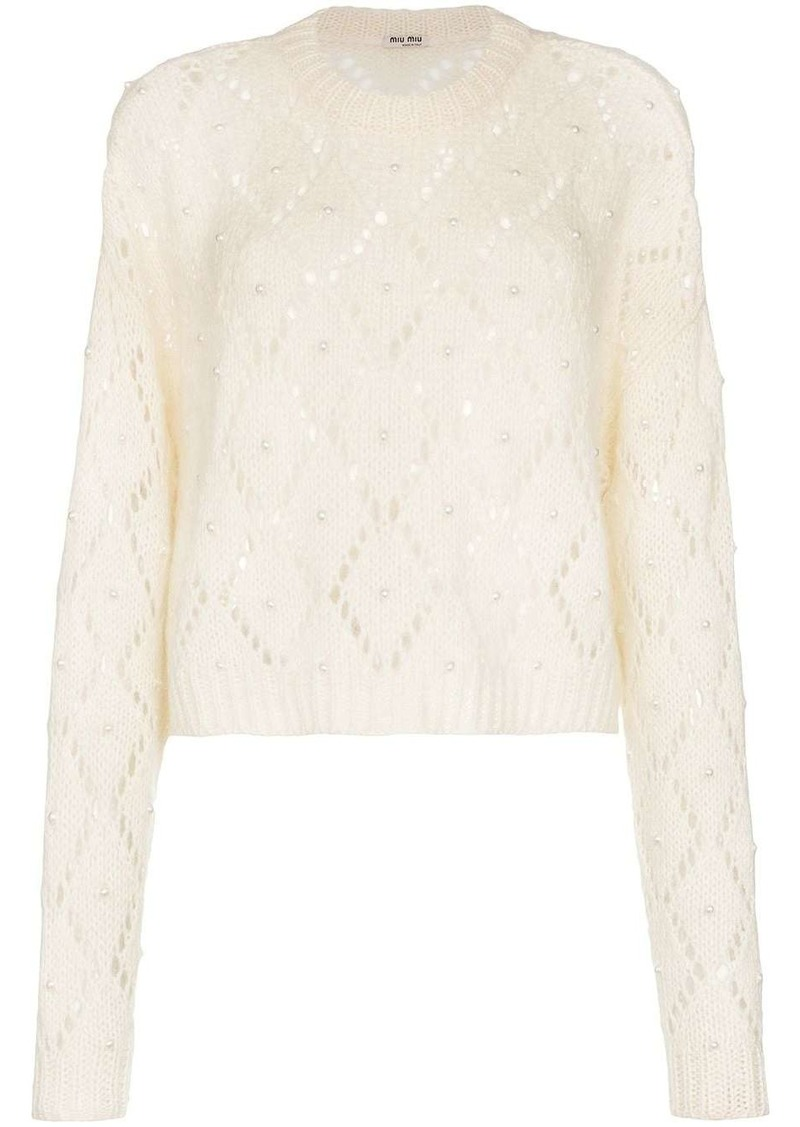 Miu Miu cropped faux pearl-embellished open-knit jumper