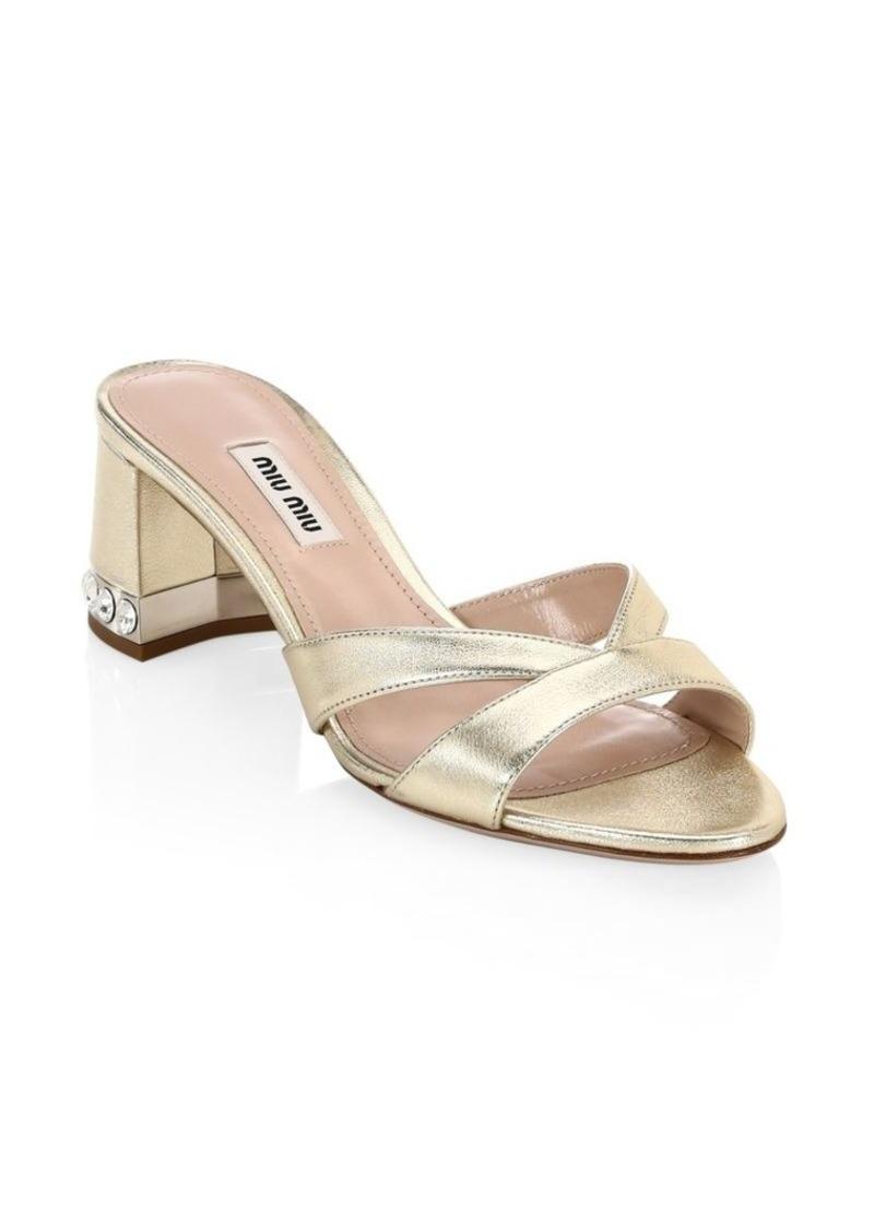 306f80d8ec Miu Miu Crystal Block-Heel Sandals | Shoes
