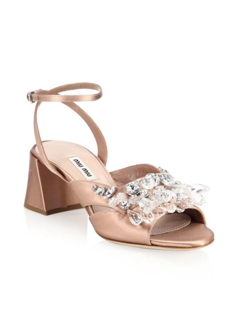 512b1d1aa5 SALE! Miu Miu Crystal Block Heel Sandals