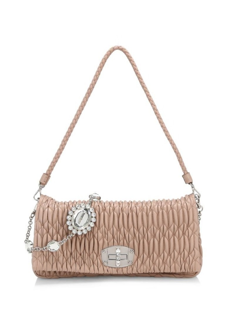 Miu Miu Crystal Chain Matelassé Leather Shoulder Bag