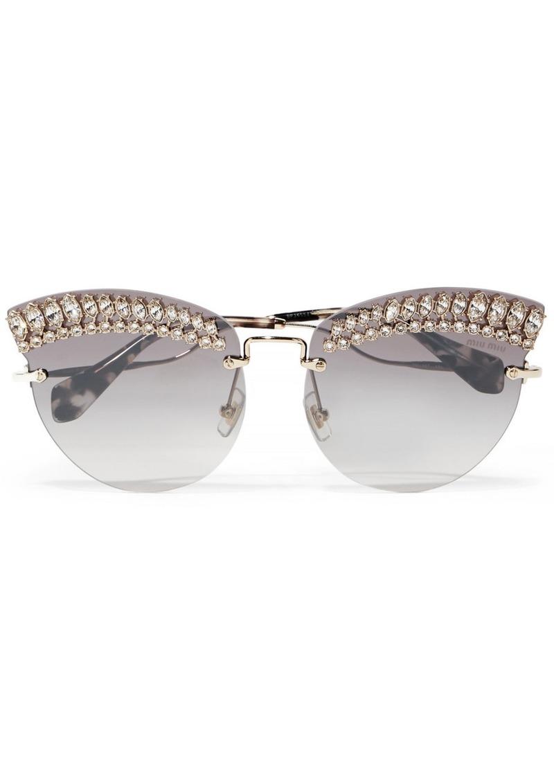 07909539c437 Miu Miu Crystal-embellished Cat-eye Gold-tone Sunglasses | Sunglasses