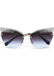Miu Miu Crystal-embellished Cat-eye Silver-tone Sunglasses