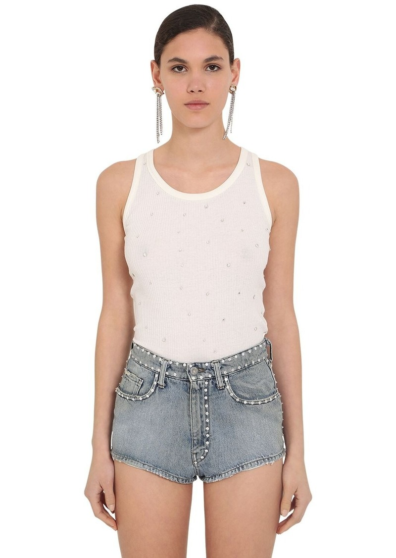 Miu Miu Crystal Embellished Cotton Ribbed Top