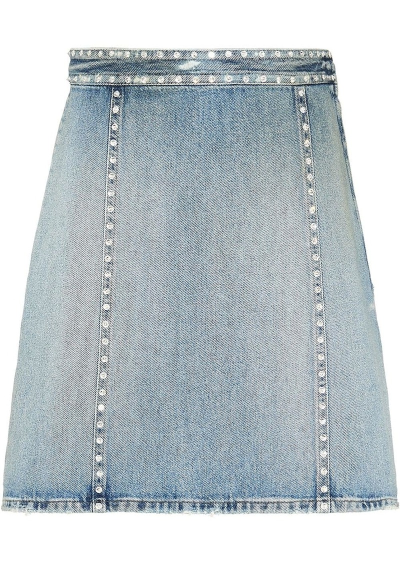 Miu Miu crystal embellished denim skirt