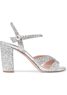 Miu Miu Crystal-embellished Glittered Leather Sandals
