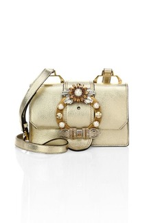 Miu Miu Crystal-Embellished Madras Metallic Leather Shoulder Bag