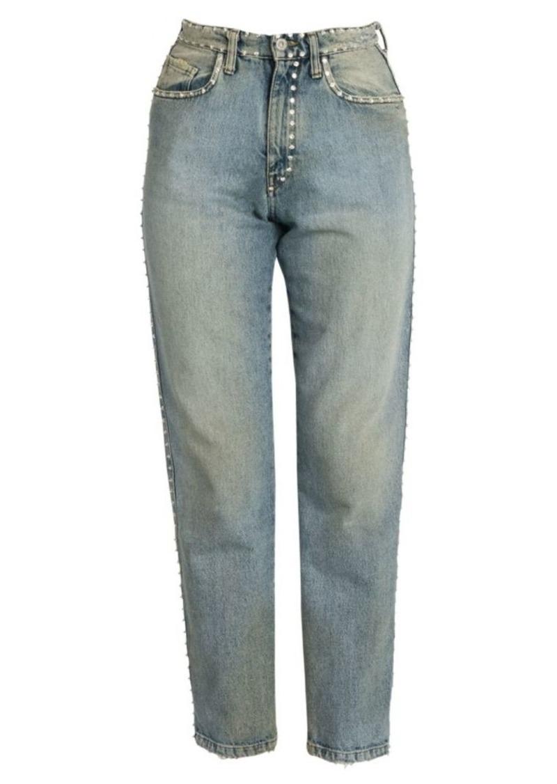 Miu Miu Crystal-Embellished Mom Jeans
