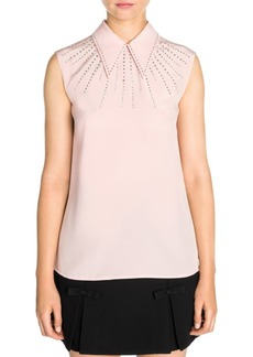 Miu Miu Crystal Embellished Point Collar Blouse