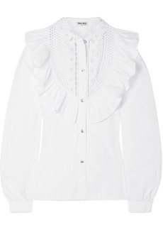 Miu Miu Crystal-embellished Ruffled Cotton-poplin Blouse