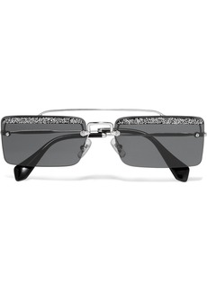 Miu Miu Crystal-embellished Square-frame Silver-tone And Acetate Sunglasses