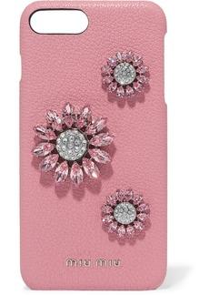Miu Miu Crystal-embellished Textured-leather Iphone 8 Plus Case