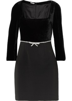 Miu Miu Crystal-embellished Velvet And Wool-blend Crepe Mini Dress