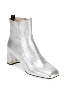 Miu Miu Crystal Heel Metallic Booties