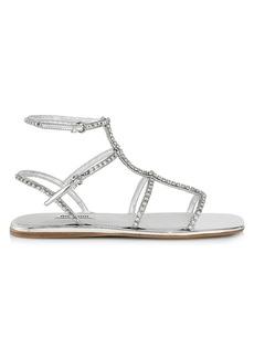 Miu Miu Crystal Metallic Gladiator Sandals