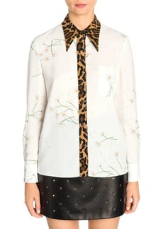 Miu Miu Daisy & Leopard Button-Down Shirt