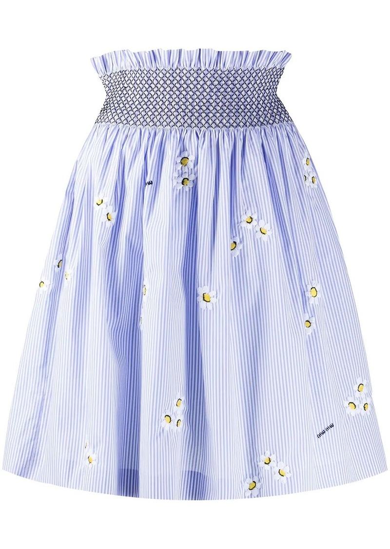 Miu Miu daisy pinstripe A-line skirt