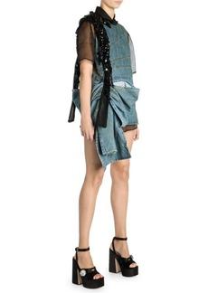Miu Miu Denim Sleeveless Beaded Mini Dress
