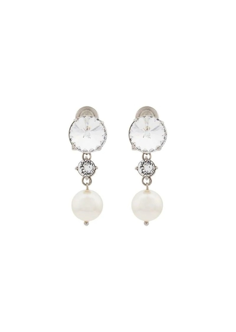 Double Crystal And Pearl Drop Earrings