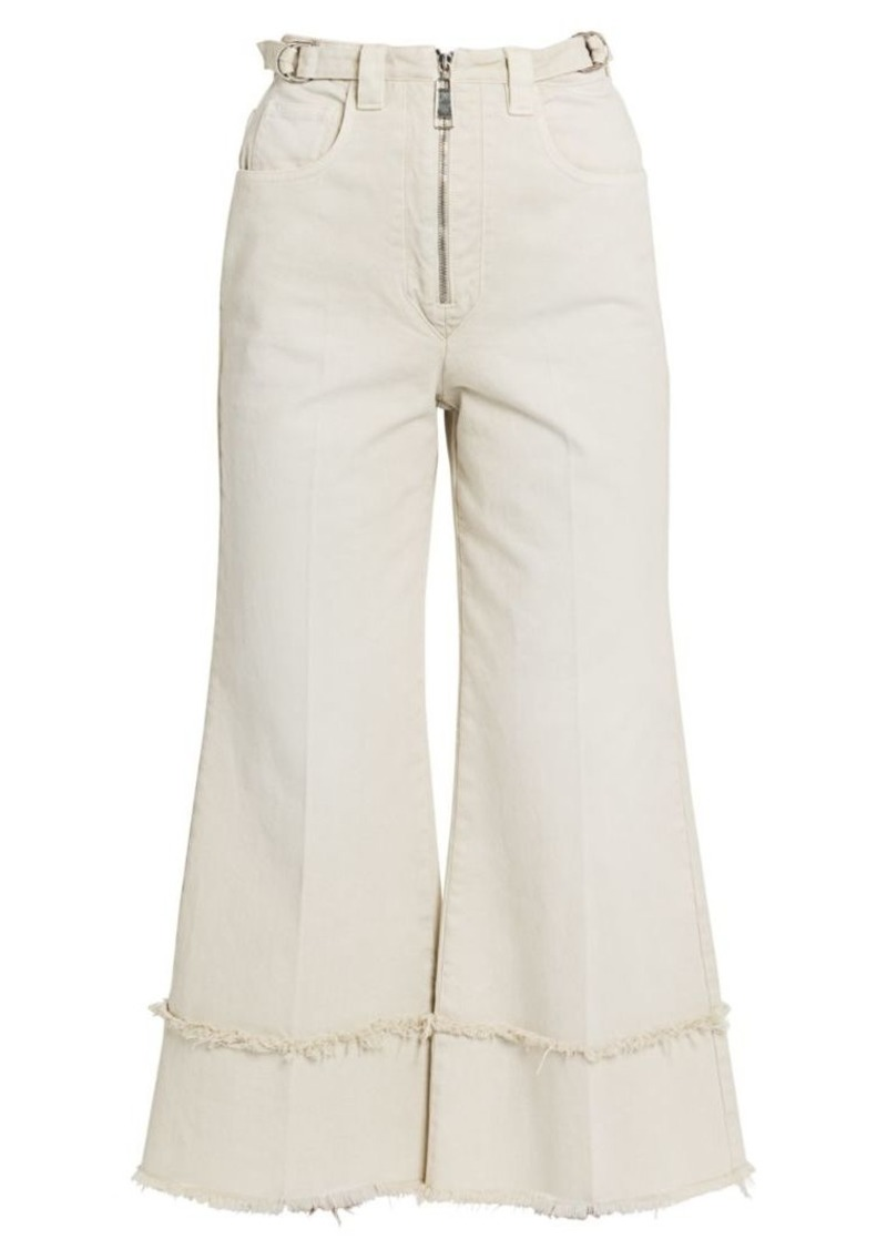 Miu Miu Drill Frayed High-Rise Cropped Pants