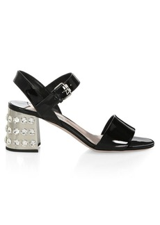 Miu Miu Embellished Heel Patent Leather Sandals