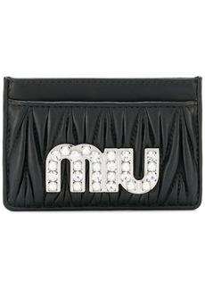 Miu Miu embellished matelassé card holder