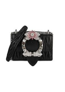 Miu Miu Embellished Matelassé Leather Shoulder Bag