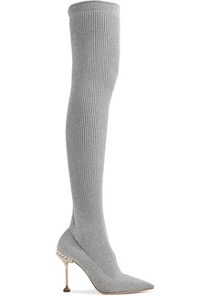 Miu Miu Crystal-embellished Metallic Ribbed-knit Over-the-knee Sock Boots