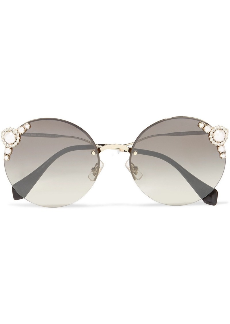 4c99feb15950 Miu Miu Embellished Round-frame Acetate And Gold-tone Sunglasses ...