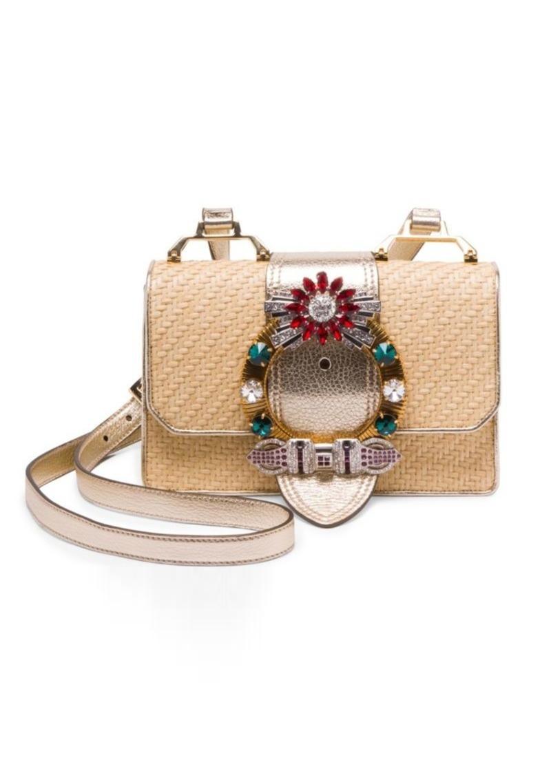 110d97a94cf Miu Miu Embellished Straw and Leather Crossbody Bag