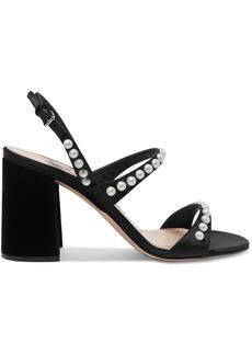 Miu Miu Faux Pearl-embellished Suede Slingback Sandals