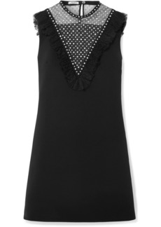 Miu Miu Embellished Tulle-paneled Crepe Mini Dress