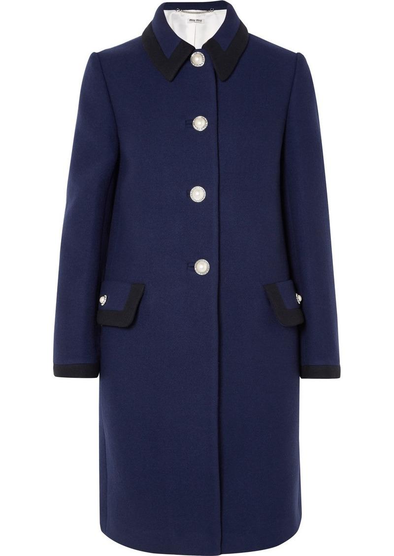 Miu Miu Embellished Wool Coat