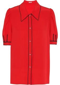 Miu Miu embroidered contrast short-sleeved shirt