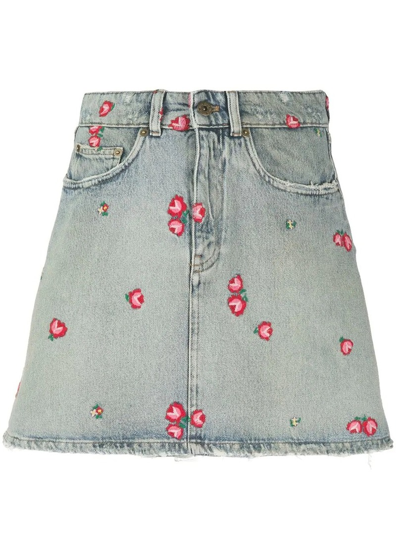 Miu Miu embroidered denim skirt