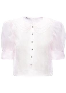 Miu Miu embroidered detail sheer shirt