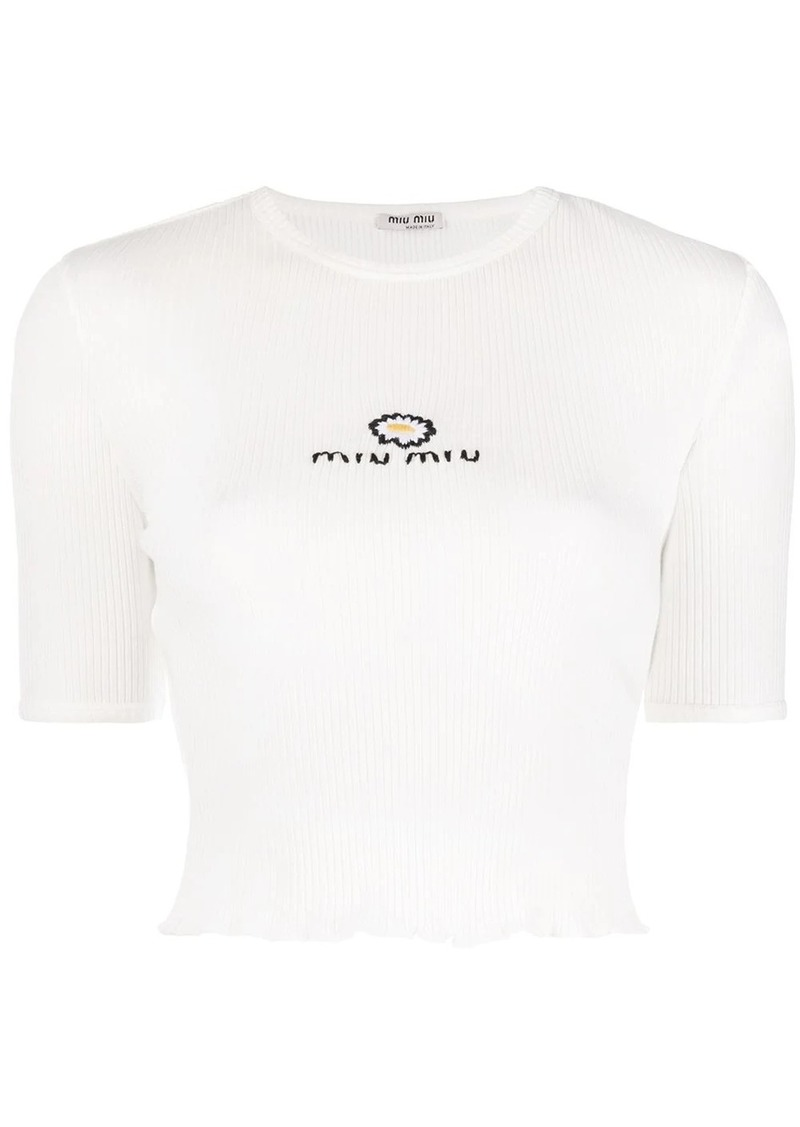 Miu Miu embroidered rib-knit T-shirt